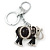 Crystal Black Enamel Elephant Keyring/ Bag Charm In Silver Tone - 12cm L - view 5