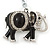 Crystal Black Enamel Elephant Keyring/ Bag Charm In Silver Tone - 12cm L - view 2