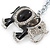 Crystal Black Enamel Elephant Keyring/ Bag Charm In Silver Tone - 12cm L - view 3
