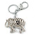 Crystal Black Enamel Elephant Keyring/ Bag Charm In Silver Tone - 12cm L - view 4