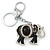 Crystal Black Enamel Elephant Keyring/ Bag Charm In Silver Tone - 12cm L - view 1