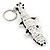 Black/ White Glass Bead Crocodile Keyring/ Bag Charm - 17cm Length - view 4