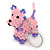 Pink/ Purple Glass Bead Scottie Dog Keyring/ Bag Charm - 8cm L