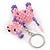 Pink/ Purple Glass Bead Scottie Dog Keyring/ Bag Charm - 8cm L - view 3