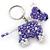 Purple/ Transparent Glass Bead Scottie Dog Keyring/ Bag Charm - 8cm L - view 3