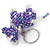 Purple/ Transparent Glass Bead Scottie Dog Keyring/ Bag Charm - 8cm L - view 4