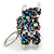 Peacock/ Transparent Glass Bead Scottie Dog Keyring/ Bag Charm - 8cm L - view 4