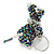 Peacock/ Transparent Glass Bead Scottie Dog Keyring/ Bag Charm - 8cm L - view 2