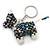 Peacock/ Transparent Glass Bead Scottie Dog Keyring/ Bag Charm - 8cm L - view 5