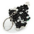 Black/ Transparent Glass Bead Scottie Dog Keyring/ Bag Charm - 8cm L - view 4