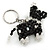 Black/ Transparent Glass Bead Scottie Dog Keyring/ Bag Charm - 8cm L - view 2
