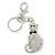 Clear/ Black Austrian Crystal Cat Keyring/ Bag Charm In Rhodium Plated Metal - 11cm L
