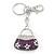 Rhodium Plated Clear Crystal, Violet/ Purple Enamel Puffed Bag Keyring/ Bag Charm - 11cm Length - view 6