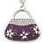 Rhodium Plated Clear Crystal, Violet/ Purple Enamel Puffed Bag Keyring/ Bag Charm - 11cm Length - view 2