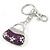 Rhodium Plated Clear Crystal, Violet/ Purple Enamel Puffed Bag Keyring/ Bag Charm - 11cm Length - view 5