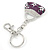 Rhodium Plated Clear Crystal, Violet/ Purple Enamel Puffed Bag Keyring/ Bag Charm - 11cm Length - view 3