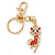 Clear/ Red Austrian Crystal Queen Kitty Keyring/ Bag Charm In Gold Tone - 11cm L