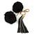 Black Faux Fur Pom-Pom and Dark Grey Metallic Faux Leather Tassel Gold Tone Key Ring/ Bag Charm - 21cm L
