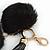 Black Faux Fur Pom-Pom and Black Faux Leather Tassel Gold Tone Key Ring/ Bag Charm - 21cm L - view 2