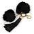 Black Faux Fur Pom-Pom and Black Faux Leather Tassel Gold Tone Key Ring/ Bag Charm - 21cm L - view 3