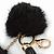 Black Faux Fur Pom-Pom and Black Faux Leather Tassel Gold Tone Key Ring/ Bag Charm - 21cm L - view 5