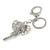 Clear Crystal Elephant Head Keyring/ Bag Charm In Silver Tone - 15cm L - view 2
