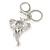Clear Crystal Elephant Head Keyring/ Bag Charm In Silver Tone - 15cm L - view 5