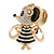 Clear Crystal, Black Enamel Dancing Mouse Keyring/ Bag Charm In Gold Tone Metal - 10cm L - view 2