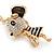 Clear Crystal, Black Enamel Dancing Mouse Keyring/ Bag Charm In Gold Tone Metal - 10cm L - view 3