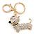 Clear Crystal Badger-Dog Keyring/ Bag Charm In Gold Tone Metal - 7cm L - view 2