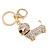 Clear Crystal Badger-Dog Keyring/ Bag Charm In Gold Tone Metal - 7cm L - view 5