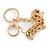 Clear Crystal Badger-Dog Keyring/ Bag Charm In Gold Tone Metal - 7cm L - view 3