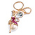 Magenta Crystal White Glass Fairy With Pearl Style Ball Keyring/ Bag Charm In Gold Tone Metal - 10cm L - view 2