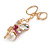 Magenta Crystal White Glass Fairy With Pearl Style Ball Keyring/ Bag Charm In Gold Tone Metal - 10cm L - view 3