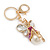 Magenta Crystal White Glass Fairy With Pearl Style Ball Keyring/ Bag Charm In Gold Tone Metal - 10cm L - view 4