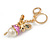 Magenta Crystal White Glass Fairy With Pearl Style Ball Keyring/ Bag Charm In Gold Tone Metal - 10cm L - view 5