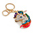 Clear Crystal, Multicoloured Enamel Unicorn Keyring/ Bag Charm In Gold Tone Metal - 10cm L - view 2
