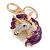 Clear Crystal, Purple Enamel Unicorn Keyring/ Bag Charm In Gold Tone Metal - 10cm L - view 2