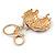 Clear Crystal, Purple Enamel Unicorn Keyring/ Bag Charm In Gold Tone Metal - 10cm L - view 4