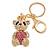 Pink/ Clear Crystal Royal Teddy Bear Keyring/ Bag Charm In Gold Tone Metal - 10cm L - view 2
