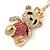Pink/ Clear Crystal Royal Teddy Bear Keyring/ Bag Charm In Gold Tone Metal - 10cm L - view 3