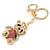 Pink/ Clear Crystal Royal Teddy Bear Keyring/ Bag Charm In Gold Tone Metal - 10cm L - view 4
