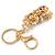Pink/ Clear Crystal Royal Teddy Bear Keyring/ Bag Charm In Gold Tone Metal - 10cm L - view 5