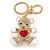 Clear/ Red Crystal White Enamel Teddy Bear Keyring/ Bag Charm In Gold Tone Metal - 10cm L - view 6