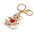 Clear/ Red Crystal White Enamel Teddy Bear Keyring/ Bag Charm In Gold Tone Metal - 10cm L - view 2