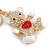 Clear/ Red Crystal White Enamel Teddy Bear Keyring/ Bag Charm In Gold Tone Metal - 10cm L - view 3