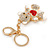 Clear/ Red Crystal White Enamel Teddy Bear Keyring/ Bag Charm In Gold Tone Metal - 10cm L - view 4