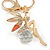 Clear Crystal Pink/ White Enamel Fairy With Glass Ball Keyring/ Bag Charm In Gold Tone Metal - 9cm L - view 2
