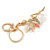 Clear Crystal Pink/ White Enamel Fairy With Glass Ball Keyring/ Bag Charm In Gold Tone Metal - 9cm L - view 3