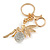 Clear Crystal Pink/ White Enamel Fairy With Glass Ball Keyring/ Bag Charm In Gold Tone Metal - 9cm L - view 4